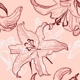Pretty painted flowers seamless background Royalty Free Stock Photos