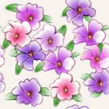 Pretty painted flowers seamless background Stock Photography