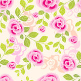Pretty painted flowers seamless background Stock Photo