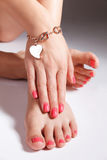Pretty painted toes and nails Royalty Free Stock Photo