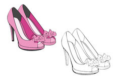 Pretty pair of pink high heels women shoes Royalty Free Stock Photos