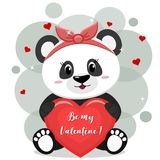 A sweet panda in a red bow sits and holds in its paws a red heart with an inscription, in the style of cartoons. A pretty panda in a red bow , sitting and Royalty Free Stock Image