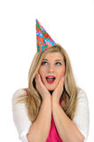 Pretty party female celebrating birthsday Stock Images