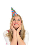 Pretty party female celebrating birthsday Royalty Free Stock Photos