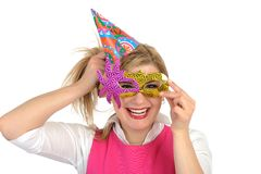 Pretty party female celebrating birthsday . Royalty Free Stock Photo