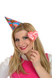 Pretty party female celebrating birthsday Stock Photo