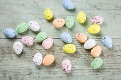 Pretty pastel dyed multicolored Easter eggs Stock Images