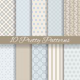 Pretty pastel vector seamless patterns (tiling,. 10 Pretty pastel vector seamless patterns (tiling, with swatch). Endless texture can be used for wallpaper, fill Royalty Free Stock Photography