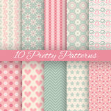 Pretty pastel vector seamless patterns (tiling, Stock Images