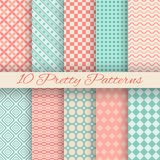 Pretty pastel vector seamless patterns (tiling,. 10 Pretty pastel vector seamless patterns (tiling, with swatch). Set of abstract cute ornaments stock illustration