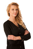 Pretty pensive caucasian blonde business woman looking into copy Stock Photos