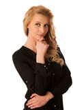 Pretty pensive caucasian blonde business woman looking into copy. Space royalty free stock photography