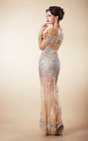 Pretty Pensive Woman in Evening Dress Royalty Free Stock Photos