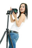Pretty photographer Royalty Free Stock Photos