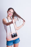 Pretty photographer girl taking selfie Royalty Free Stock Photography