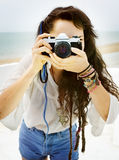 Pretty Photographer Woman Beach Vacation Lifestyle Concept Stock Photo