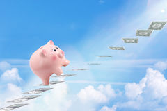 Pretty Piggy Bank Climbing Stairs for Success Made of Dollar Ban Stock Image
