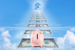 Pretty Piggy Bank Climbing Stairs for Wealth and Success Goes to Stock Images