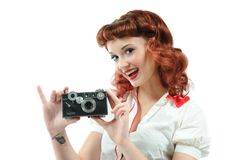 A pretty pin up girl Stock Photo