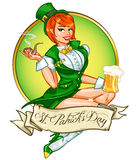 Pretty Pin Up Girl with beer mug and smoking pipe Stock Photography