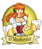 Pretty Pin Up Girl with beer mugs Royalty Free Stock Photos