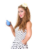 Pretty pin up girl with the enema isolated Stock Image
