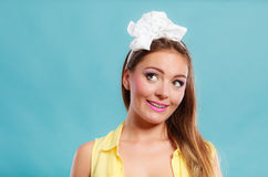 Pretty pin up girl with hairband bow. Royalty Free Stock Image