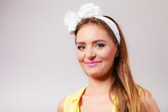 Pretty pin up girl with hairband bow. Stock Images
