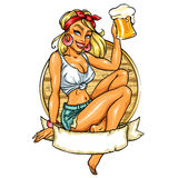 Pretty Pin Up Girl holding beer mug Royalty Free Stock Image
