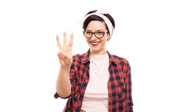 Free Pretty Pin-up Girl Wearing Glasses Showing Number Three With Fin Stock Image - 122881491