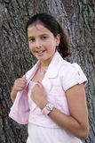 Pretty in Pink. Portrait of an attractive pre-teen stock photography