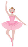 Pretty Pink Ballerina. A pretty young cartoon ballerina wearing a pink tutu and a rhinestone tiara. She poses en pointe Royalty Free Stock Images