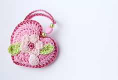Pretty pink crochet heart. Stock Images