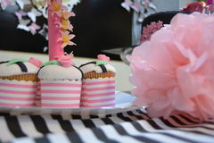 Pretty in pink. Cupcakes matching bridal shower theme Royalty Free Stock Photo