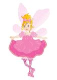 Pretty pink fairy. Pretty fairy in pink dress over white background, vector illustration Royalty Free Stock Photography