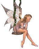 Pretty Pink Fairy Daydreaming on a Swing. Pretty blonde fairy with pink dress and wings sitting on a swing and day-dreaming, 3d digitally rendered illustration Stock Photos