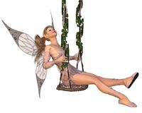Pretty Pink Fairy on a Swing. Pretty blonde fairy with pink dress and wings sitting on a swing, 3d digitally rendered illustration Royalty Free Stock Image