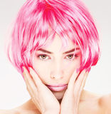 Pretty pink hair woman Stock Photo
