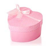 Pretty Pink Heart Shaped Gift Box Stock Images