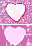 Pretty Pink Hearts. Pair of hand-drawn ink heart-shaped grunge style frames Stock Image