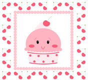 Pretty pink icecream. Sweet digital illustration about pretty pink cherry icecream Royalty Free Stock Photo