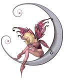 Pretty Pink Moon Fairy. Fairy dressed in pink sitting on a silver moon, 3d digitally rendered illustration Stock Photography