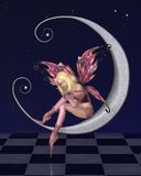 Pretty Pink Moon Fairy with Starry Nighttime Background. Fairy dressed in pink sitting on a silver moon with a nighttime background covered in sparkling stars Royalty Free Stock Photography