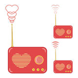 Pretty pink radio with heart Stock Images