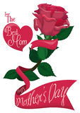 Pretty Pink Rose with Ribbon Across for Mother's Day, Vector Illustration Royalty Free Stock Images