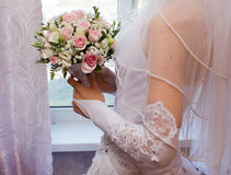 Pretty pink roses in bridal bouquet Royalty Free Stock Photo