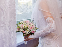 Pretty pink roses in bridal bouquet Royalty Free Stock Photos