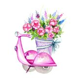 Scooter with Flowers Stock Images