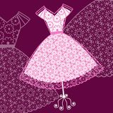 Pretty pink sundress. Pretty patterened sundress in pink and white vector illustration