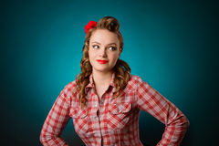 Pretty pinup girl in retro vintage 50`s style Stock Image